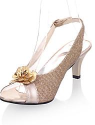 abordables -Mujer Zapatos PU Primavera / Verano Sandalias Tacón Stiletto Punta abierta Flor Dorado / Negro / Plata / Fiesta y Noche / Fiesta y Noche