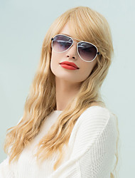 Elegant Charming Inclined Bang Long Wavy Human Hair Wig