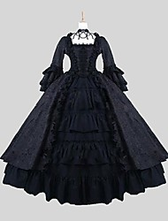 cheap -Gothic Lolita Dress Punk Lolita Dress Princess Satin Women's One Piece Dress Cosplay Black Long Sleeves