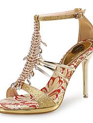 baratos -Mulheres Sapatos Gliter / Couro Ecológico Sapatos clube Sandálias Salto Agulha Pedrarias Dourado / Prata / Casamento / Festas & Noite