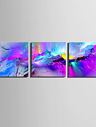 cheap -E-HOME Stretched Canvas Art Purple Fantasy Mountains Decoration Painting Set Of 3