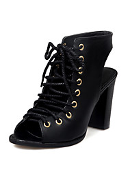 cheap -Women's Shoes PU Spring Summer Gladiator Comfort Sandals Walking Shoes Chunky Heel Open Toe Lace-up for Athletic Party & Evening Black