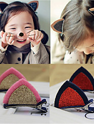 1 Pair Of Children'S Jewelry Stereo Cat Ears Shiny Piece Of Hairpin Hair Girl Lovely Hair Clip Color Random