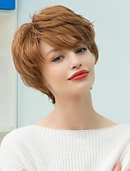 Недорогие -Пикси короткий слоистый наклонена взрыва прямой парик человеческих волос