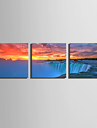 cheap -E-HOME Stretched Canvas Art The Scenery In The Sunset falls Decoration Painting Set Of 3