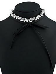 Women's Choker Necklaces Crystal Synthetic Diamond Single Strand Circle Bowknot Synthetic Gemstones Leather Basic Fashion European Jewelry