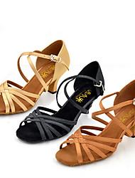 Недорогие -Для женщин Латина Джаз Сальса Обувь для свинга Сатин Сандалии На каблуках Тренировочные Для начинающих Профессиональный стиль Для