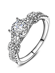 New Luxury  AAA Zircon Collection 925 Sterling Silver Brilliant Stackable Ring Clear Fine Jewelry