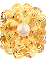 Fashion Jewelry Flower Brooch 18K Gold Plated Simulated Pearl Safety Switch For Women Wedding and Party Gift X30016