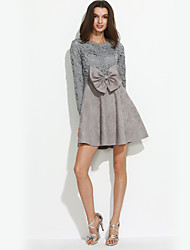 Women's Going out Street chic A Line Dress,Solid Round Neck Above Knee Long Sleeve Pink / Black / Gray Polyester Fall