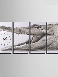Modern/Zeitgenössisch Anderen Wanduhr,Rechteckig Leinwand 30 x 60cm(12inchx24inch)x4pcs/ 40 x 80cm(16inchx32inch)x4pcs Drinnen Uhr