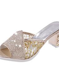 Da donna Pantofole e infradito Comoda PU (Poliuretano) Primavera Estate Casual Formale Comoda Quadrato Oro Argento 2,5 - 4,5 cm