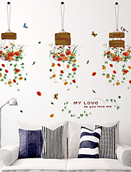 cheap -Colorful Hanging Basket Flowers Store Glass Wall Stickers Fashion DIY Living Room Wall Decals