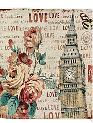 cheap -RayLineDo® Linen Cotton Square Throw Pillow Cover Rose and Big Ben Decorative Pillow Case CTJZ21-PC-BB