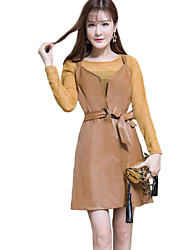 cheap -Women's Going out Cute Street chic Spring Summer T-shirt Dress Suits,Solid Round Neck Long Sleeve Lace PU Others Regular