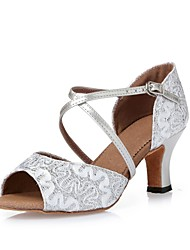 cheap -Women's Latin Shoes / Dance Sneakers / Modern Shoes Sparkling Glitter / Paillette Heel Indoor / Performance / Professional Sequin / Satin