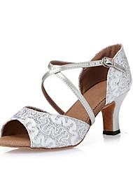 Недорогие -Жен. Обувь для латины / Танцевальные кроссовки / Обувь для модерна Лак / Блестки На каблуках Пайетки / Цветы из сатина / Лак На толстом