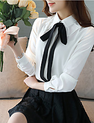 cheap -Women's Going out Work Casual Spring Summer Blouse,Solid Peter Pan Collar Long Sleeves Polyester Thin