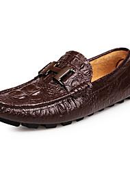preiswerte -Herrn Schuhe Leder Frühling Herbst Komfort Loafers & Slip-Ons Metall Zehen für Normal Büro & Karriere Party & Festivität Schwarz Kaffee