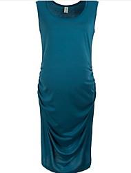 Feminino Reto Vestido, Para Noite Sensual Sólido Decote Redondo Altura dos Joelhos Sem Manga Azul Preto Marrom Cinza Linho VerãoCintura