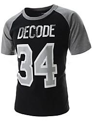 abordables -Tee-shirt Hommes,Couleur Pleine Décontracté / Quotidien simple Manches Courtes Col Arrondi Bleu Blanc Noir Coton