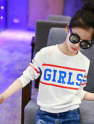 Girls' Daily Going out Holiday Print Tee,Cotton Spring Fall Long Sleeve Cartoon White Blushing Pink