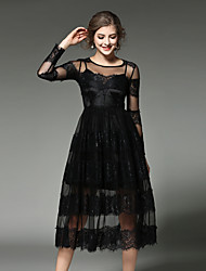 cheap -Women's Holiday / Going out Vintage / Street chic / Sophisticated Cotton Lace Dress - Patchwork