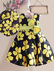 Girls Dresses +Hat Flower Print Bow Party Pageant Beach Cute Baby Kids Clothing