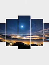 Stretched Canvas Print Landscape Fantasy Style Modern,Five Panels Canvas Any Shape Print Wall Decor For Home Decoration