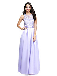 Ball Gown Jewel Neck Floor Length Lace Satin Bridesmaid Dress with Sash / Ribbon by LAN TING BRIDE®