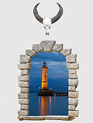3D Lighthouse Wall Stickers Vintage False Window Beacon 3D Wall Stickers Fashion Environmental Waterproof Bathroom Wall Decals