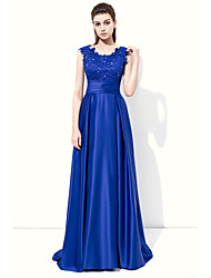A-Line Jewel Neck Floor Length Stretch Satin Formal Evening Dress with Beading Appliques by Lovingtime