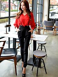 Da donna Taglia piccola Chino Tuta da lavoro Pantaloni-Vintage Divertente Moda città Per uscire Casual Ufficio Tinta unita A vita alta