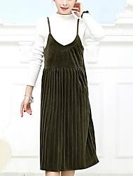 Ample Robe Femme Décontracté / Quotidien Soirée Chic de Rue,Couleur Pleine A Bretelles Midi Sans Manches Bleu Noir Marron Vert Polyester