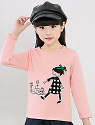 Girls' Daily Going out Holiday Print Tee,Cotton Winter Spring Fall Long Sleeve Cartoon White Pink