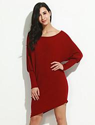 preiswerte -Damen Bodycon Kleid-Lässig/Alltäglich / Klub Sexy / Einfach Solide Rundhalsausschnitt Mini Langarm Rot / Weiß Baumwolle / Elasthan