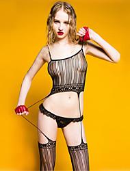 cheap -Women's Gartered Lingerie Ultra Sexy Teddy Nightwear Solid Nylon Black Dark Blue
