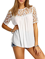 cheap -Women's Daily Going out Cute Casual Street chic Summer Shirt,Solid Round Neck Polyester