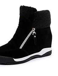 Women's Boots Comfort Combat Boots PU Fall Winter Casual Dress Comfort Combat Boots Flat Heel Black Light Brown Flat