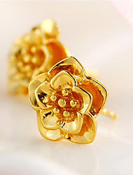 Недорогие -золотой имитация золотой цветок серьги классический женственный стиль