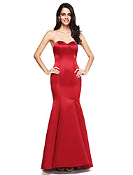 Mermaid / Trumpet Sweetheart Floor Length Satin Bridesmaid Dress with Side Draping by LAN TING BRIDE®