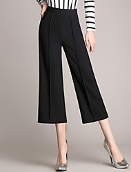 Women's Wide Leg OL Style Wide Leg Loose Thin 3/4 Business PantsWork Casual Solid High Rise Zipper Micro-elastic Summer