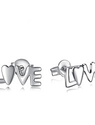Stud Earrings Jewelry Love Silver Plated Alloy Jewelry For Wedding Party Daily Casual