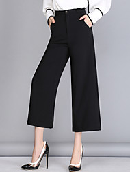 Women's OL Style Wide Leg Loose 9/10 Business Pants Work Simple Solid High Rise Zipper Inelastic Spring
