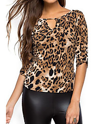 cheap -Women's Going out Holiday Street chic T-shirt - Leopard