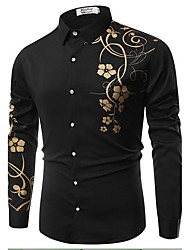 cheap -Men's Business Casual Cotton Slim Shirt - Floral Classic Collar