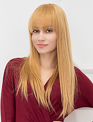 Hot Safe Long Hairstyles With Bangs Natural Straight Capless Human Hair Wigs 2017