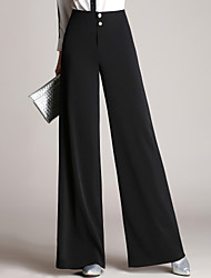 Women's Wide Leg Plus Size OL Style Wide Leg Business Trousers Work Simple Solid High Rise Zipper Inelastic All Seasons