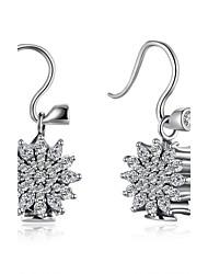 Dråbeøreringe Kvadratisk Zirconium Sølv Zirkonium Imitation Diamond Sølv Smykker Bryllup Fest Daglig Afslappet 1 par