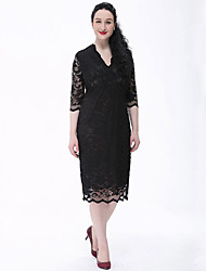 cheap -TS - Miss French Women's Plus Size Vintage Lace Dress - Solid Colored, Lace V Neck